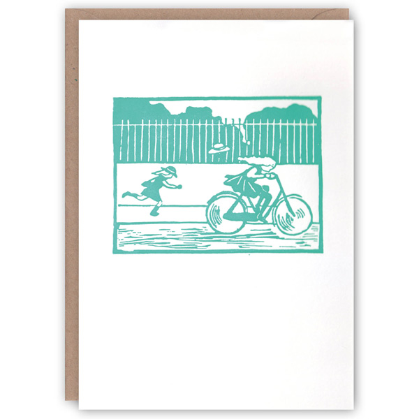 'Bicyling' – linocut letterpress greetings card by The Pattern Book