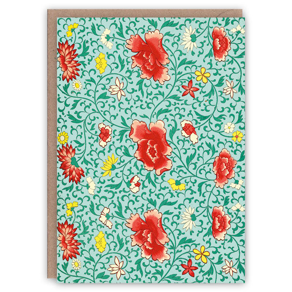 'Red Flowers' – Chinese pattern greetings card by The Pattern Book