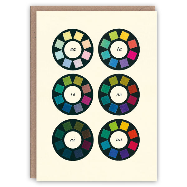 'Colour Wheels' – colour theory greetings card by The Pattern Book