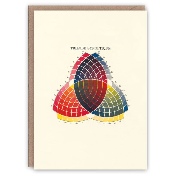 'Trilobe Synoptique' – colour theory greetings card by The Pattern Book