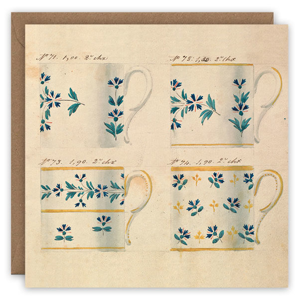 Teacups, no.'s 71–74. French porcelain greetings card by The Pattern Book.