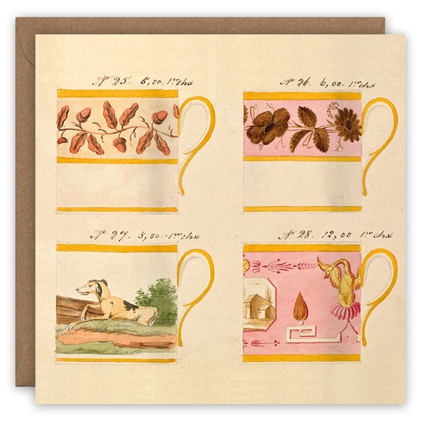 Teacups, no.'s 25–28. French porcelain greetings card by The Pattern Book.