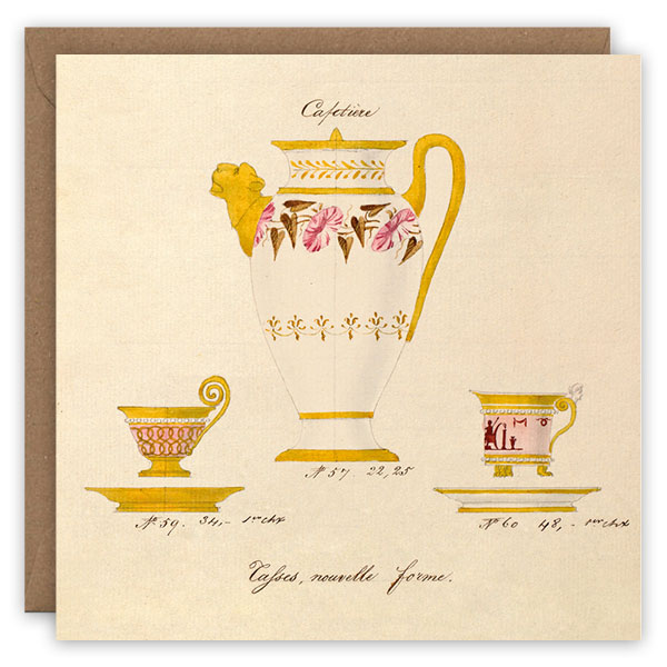 Coffee set. French porcelain greetings card by The Pattern Book.
