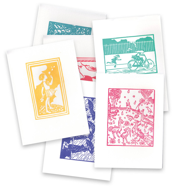Selection of woodcut and linocut letterpress greetings cards by The Pattern Book