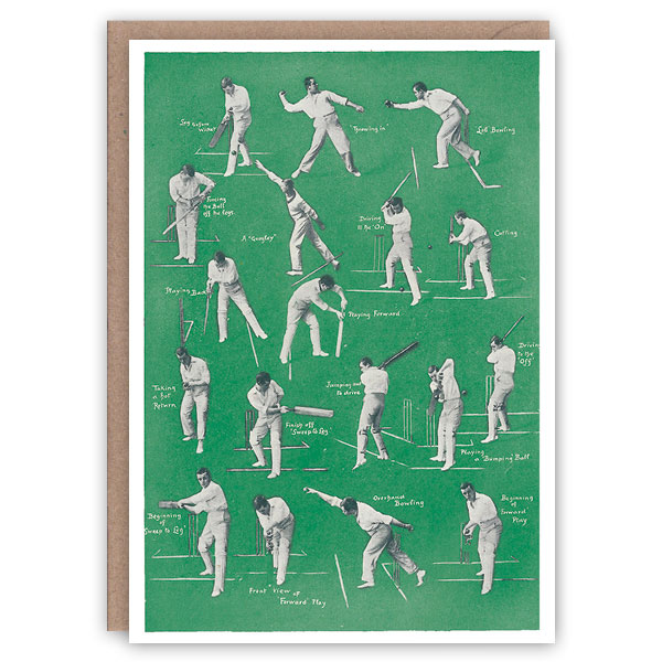 Cricket – a vintage sports greetings card by The Pattern Book