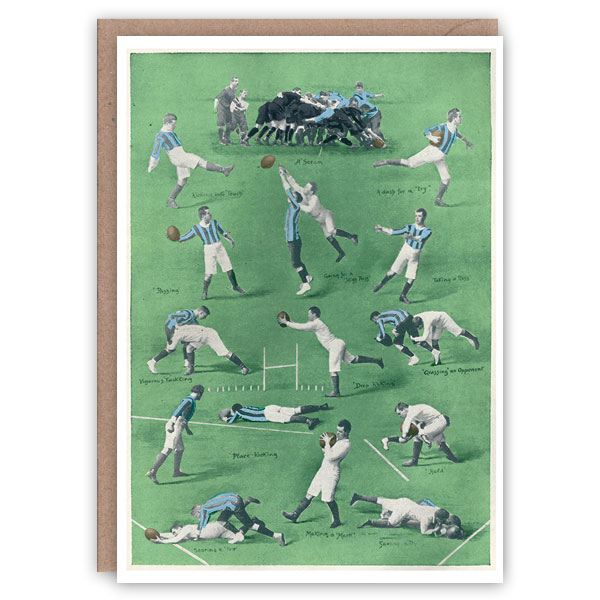 Rugby – a vintage sports greetings card by The Pattern Book