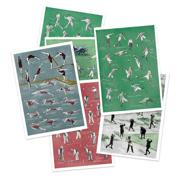 Selection of vintage sports greetings cards by The Pattern Book