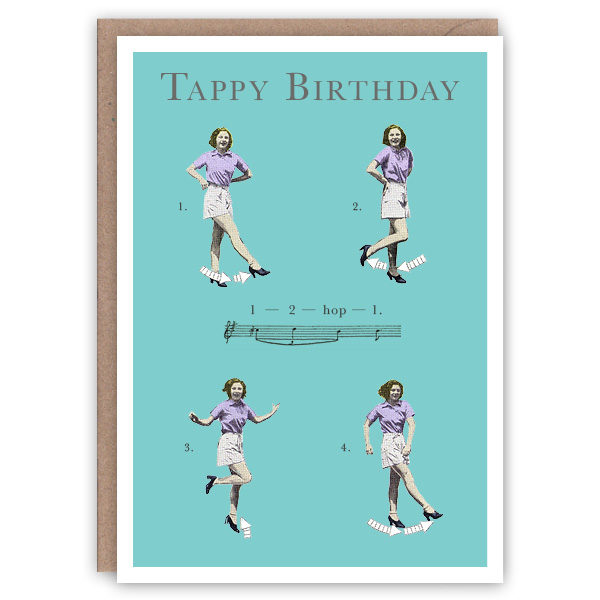 'Triple Time Step' – Dancing greetings card by The Pattern Book