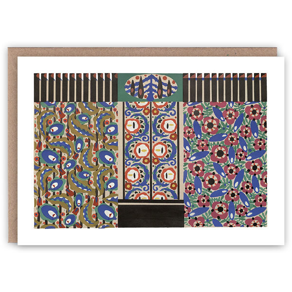 'Fenced Flowers' – Folk Art greetings card by The Pattern Book